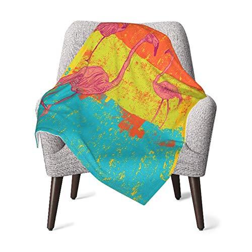 Olverz Manta de flamencos en estilo antiguo retro de color vintage para bebé, cómoda manta de bebé de felpa gruesa manta de bebé suave para cochecito cuna recién nacidos