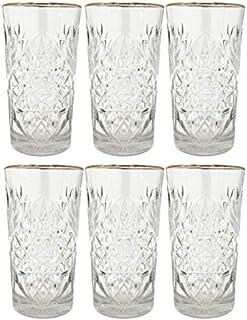 Libbey - Hobstar - Longdrinkglas, Cocktailglas Wasserglas, Saftglas - Kristall - mit edlem Goldrand - 6 Stück - 470ml