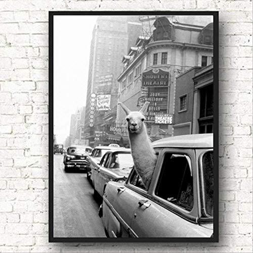LWJZQT Leinwanddrucke Taxi Wandkunst Leinwand Malerei Plakate Und Drucke Alpaka Nordic Poster Street Wall Bilder Für Wohnzimmer Bild Ungerahmt 60×80cm