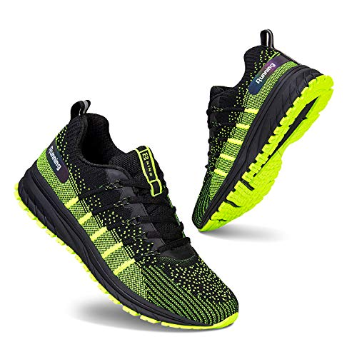 Mens Trainers Running Shoes Sport Shoes Walking Shoes for Gym Indoor Outdoor Fitness(Black Green S6003,9 UK,43 EU)