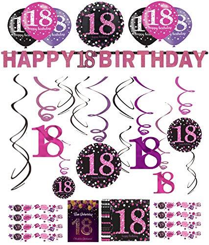 Libetui 18.Geburtstag Dekoration Deko-Set Pink Happy Birthday Partykette Girlande Konfetti Luftballons Zahl 18