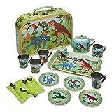 Wobbly Jelly 'Stomping Dinosaur' Metal Café Set & Carry Case Toy (14 Piece Tea Set for Children)