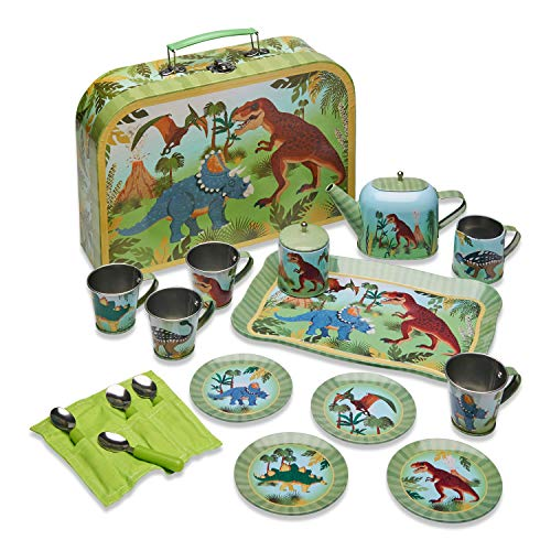 Wobbly Jelly Maletín con Juego de té y café de Metal «Fieros Dinosaurios (Juego de té y café Infantil de 14 Piezas)