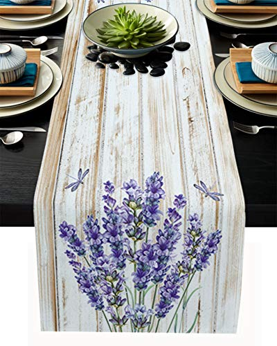 SUN-Shine Farm Floral Purple Lavender and Dragonfly Linen Burlap Table Runner Dresser Scarves, Table Runners for Family Dinner Holiday Party Kitchen Tabletop Decor Wood Plank 13x120In