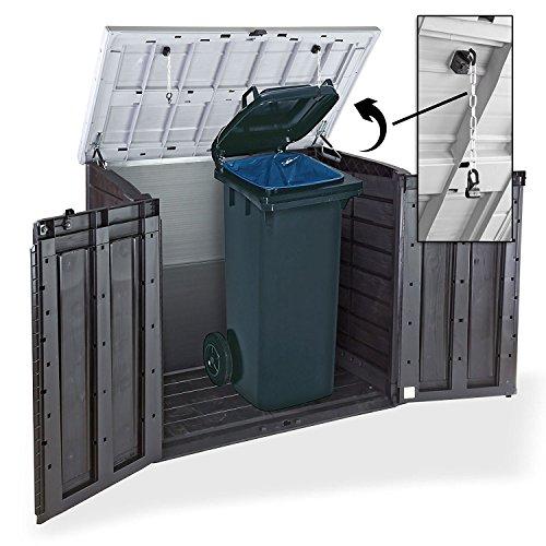 Koll Living Gartenbox Mülltonnenbox Gerätebox Schuppen für 2x 240 Liter Mülltonnen Gratis nur bei uns : inkl. Vorhängeschloss - 2