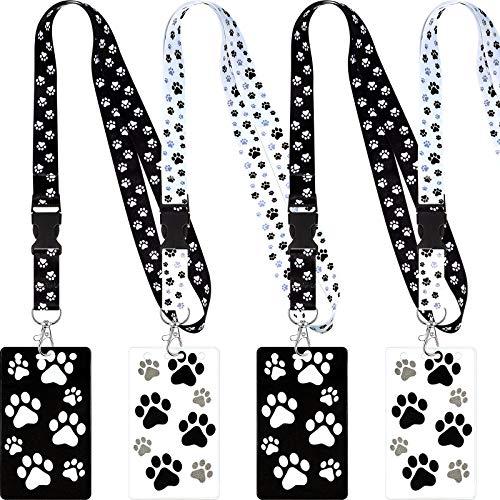 4 Conjuntos Cordones Estampado de Patas con Tarjetero, Correa de Cuello Cordón con Estampado de Patas de Animales Perros Cachorros y Porta Tarjetas Transparente Impermeable para Llaves