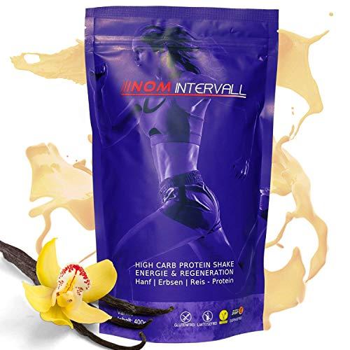 NOM Intervall Protein Pulver Vanille - Hochwertiger Eiweißshake für den Muskelaufbau - leicht verträgliches Proteinpulver - Veganes Erbsen, Reis und Hanfprotein (400g)