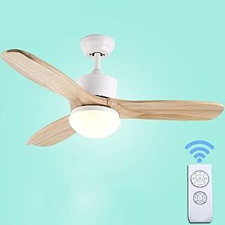 Liuyu · Hojas de madera Inicio Ventilador de techo Luz Minimalista Sala de estar Dormitorio Hogar Restaurante Araña Ventilador Iluminado Mando a distancia Madera maciza Viento Silencioso Blanco 42 Pul