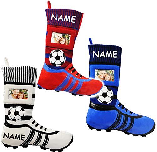 alles-meine.de GmbH 1 Stück _ XL Fußball _Filzstrumpf -  Fußballschuhe - ROT / BLAU - mit austauschbaren Foto  - incl. Name - 45 cm - Bilderrahmen / Sportverein - Fotosocke - D..