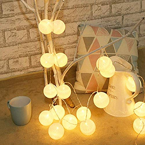 Cotton Balls LED Fairy Light, 20 Balls White Cotton, Warm White Lighting, 3.3 Meters 20LED Battery String Lights, Indoor Wall Decor Lamp, Create Pleasant & Warm Atmosphere