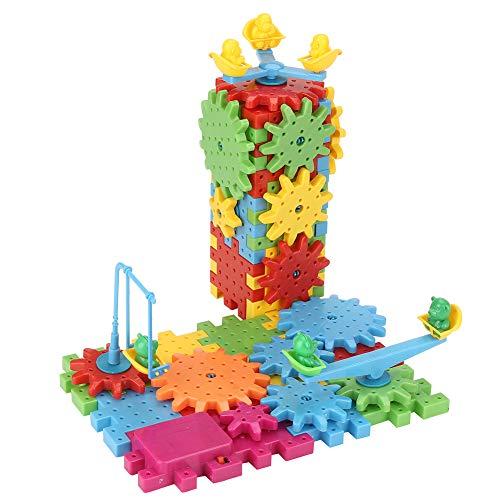 81PCS Blocs de Construction Jouet DIY Roue Dentée Drôles Briques Engrenages Électrique Puzzle 3D Motorisé Plastique Jouets Educatifs Cadeaux Motorisé Spinning Gears pour Enfants Garçons Filles