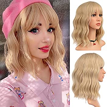 eNilecor Short Wavy Mixed Blonde Wig with Bangs,12 Curly Bob colored Wigs for Women Shoulder Length Fun Wigs Synthetic Colorful Wigs for Daily Cosplay Party  Mixed Blonde