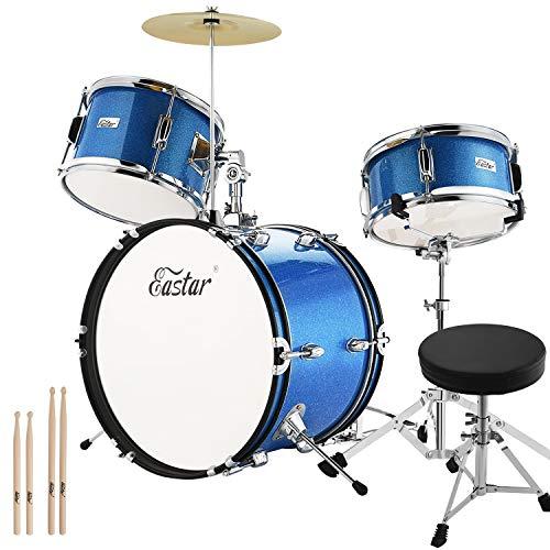 Eastar EDS-280Bu 3-Teile Junior Schlagzeug Kinder Komplett Set 16 Zoll/40.6 cm mit Thron, Becken, Pedal und Drumsticks, Metallisch Blau