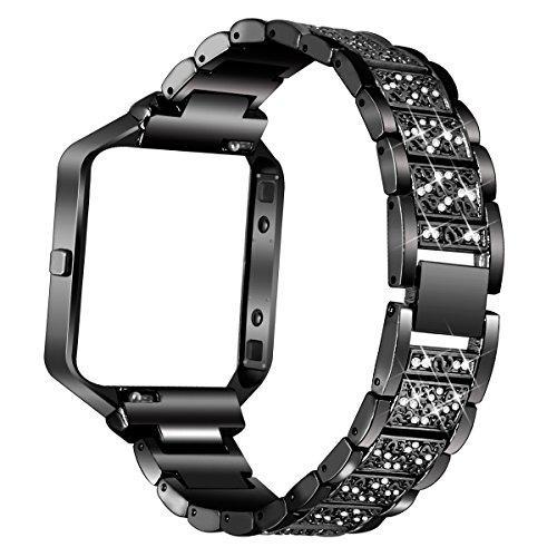 AISPORTS Ersatz-Armband für Fitbit Blaze mit Rahmen, aus Edelstahl, Strass, Glitzer, Smart-Watch, Armband und Rahmen für Fitbit Blaze – Schwarz