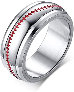YOUYUZU Men's Stainless Steel Sports Baseball Rings Cute Simple Promise Plain Wedding Band Ring for Women