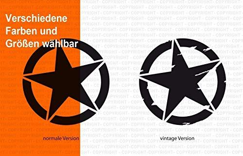 Army Stern Aufkleber/Vintage Star/verschiedene Versionen, Sticker für Motorrad, Camper Bus Offroad 4x4 Wohnmobil Boot oder Geländewagen