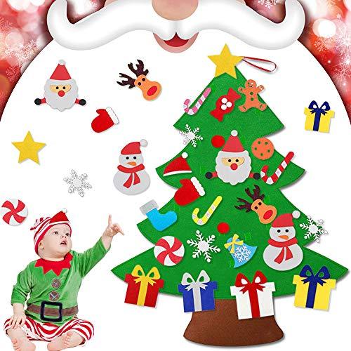 EMAGEREN Albero di Natale in Feltro per Bambini Ornamento Albero in Feltro da Appendere alla Porta Decorazioni Natalizie Albero per Decorazione Camera da Letto Soggiorno 110 * 76cm (Verde)