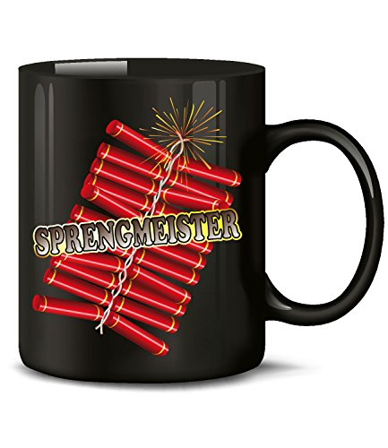 Silvester Sprengmeister 4508 Fun Tasse Neujahr Böller Raketen Knaller Deko Pyrotechnik Feuerwerk Fun Becher Kaffeetasse Kaffeebecher Schwarz silvesterdeko zubehör Geburtstag raketen polen batterie