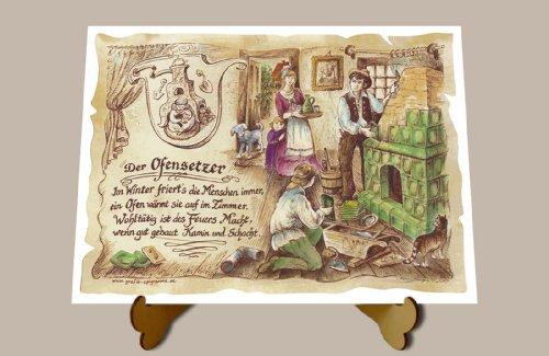 Geschenk Ofensetzer Ofenbauer Zeichnung Color 20 x 15 cm mit Aufsteller