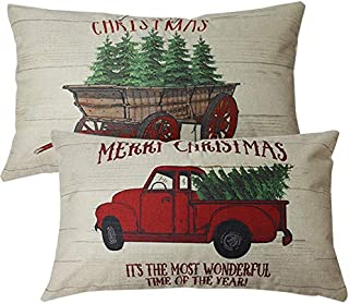 ULOVE LOVE YOURSELF 2Pack Merry Christmas Pillow Cover with Christmas Tree and Vintage Red Truck Pattern Home Decorative Rectangular/Waist Cushion Case 12 x 20 inches