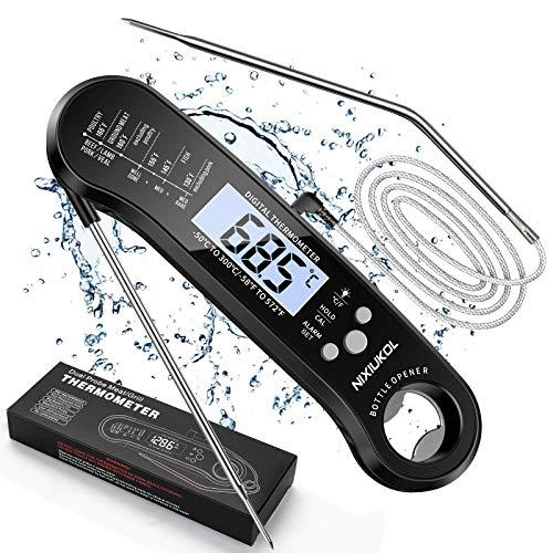 NIXIUKOL Upgrade Digital Fleischthermometer Instant Read Grillthermometer Wasserdicht | Präzis Küchenthermometer Bratenthermometer | Haushaltsthermometer mit Hintergrundbeleuchtung, 2 Sonden