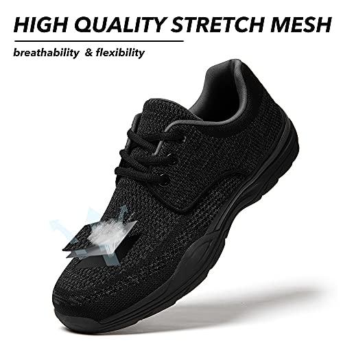 Zapatos de Cordones Hombre Vestir Casual Zapatillas Deportivas Running Sneakers Corriendo Transpirable Negro 43