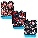 Confezione da 3 bavaglini per adulti, lavabili e riutilizzabili, impermeabili, con raccogli briciole opzionali, 71,1 x 43,2 cm