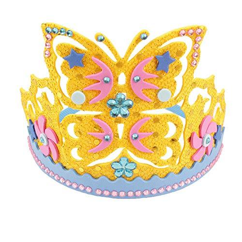 litty089 Kinderen Party Kroon Stijl Hoed, Zoete Bloemen Maan Sterren Patroon met Pailletten, Schuimpapier Ontwerp, DIY Art Craft Ornament