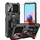MIIBBKD for Xiaomi Redmi Note 10S Case, Redmi Note 10 4G Case and 2 Packs Tempered Glass Screen Protector, Armor Shockproof Anti-Slip TPU & PC Cover with Magnetic Kickstand Function & Belt Clip, Black