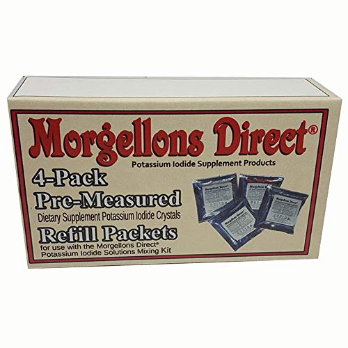 Morgellons Direct Dietary Supplement Potassium Iodide Crystals / 4 Pack pre-Measured for use with The Morgellons Direct Sski Potassium Iodide Solutions Mixing Kit. High Purity. 160 Grams Total.