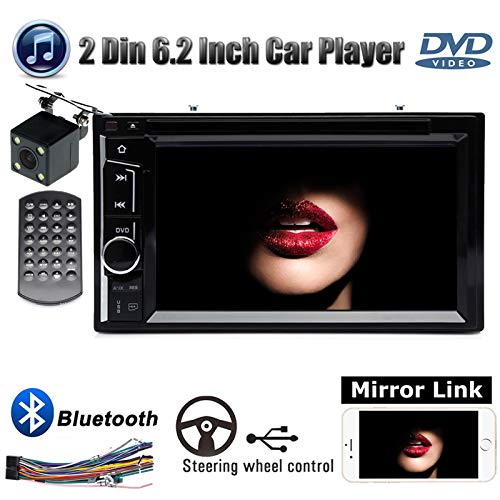 Double 2Din Indash Car Radio with Backup Camera Stereo CD DVD Player Mirrorlink Bluetooth Steering Wheel Control Touch Screen Subwoofer AUX for Ford F-150 XLT Extended Cab Pickup 4-Door 2004-2007