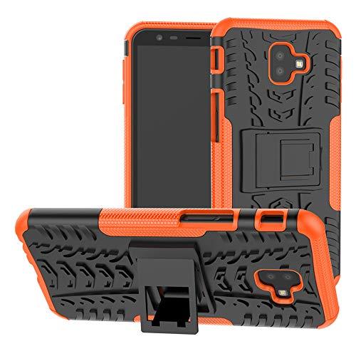 LiuShan Heavy Duty Silicona Híbrida Rugged Armor Soporte Cáscara de Cubierta Protectora de Doble Capa Caso para Samsung Galaxy J6 Plus /J6 Prime /J4 Plus /J4 Prime Smartphone,Naranja