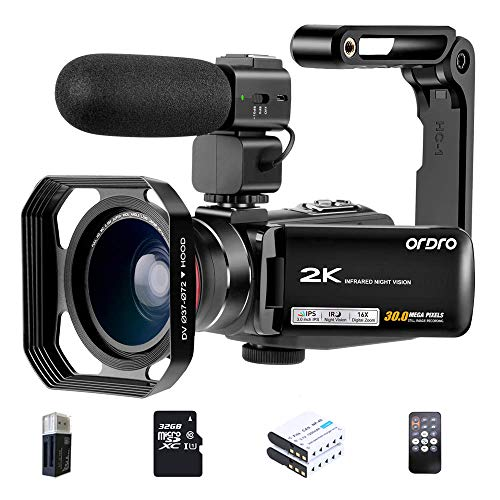 ORDRO 2K Camcorder HDV-Z63 Video Camera UHD 1080P 30FPS Vlog Camera IR Night Vision WiFi Video Recorder with 32G SD Card, Microphone, Wide-Angle Lens, Handheld Holder, Remote Conrol, 2 Batteries