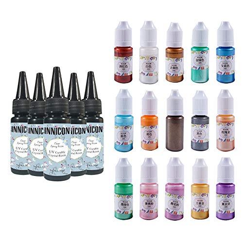INNICON 5 x 30 ml UV curable heldere nagellak en coating van epoxyhars kit 15 kralen bling pigment voor handwerk DIY sieraden make-up pakket decoratiesets kunst accessoires