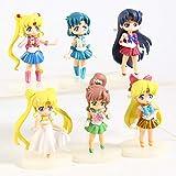 6 unids / Set 7Cm Sailor Moon Venus Urano Tsukino Mercury Júpiter Q versión Dibujos Animados Princ...