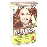Garnier Creme Coloration, Haarfarbe, Färbung für Haare für permanente Haarfarbe, mit 5 nährenden Ölen, Nutrisse, Heller Bernstein 64, 3er Pack