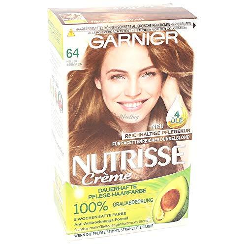 Garnier Nutrisse Creme Coloration Heller Bernstein 64 / Färbung für Haare für permanente Haarfarbe (mit 5 nährenden Ölen) - 3er Pack