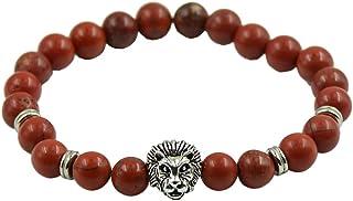 Sconosciuto Diaspro Rosso d'Argento Tibetano Braccialetto Testa di Leopardo Distanziatore Perline Naturali Moda