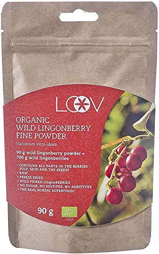 Arándano Rojo Silvestre Orgánico en Polvo, Obtenido 100% a Partir de Fruta Entera, Elaborado en Forma Artesanal Procedente de Los Bosques del Norte de Europa, Suministro Para 18 Días, 90 g, Crudo