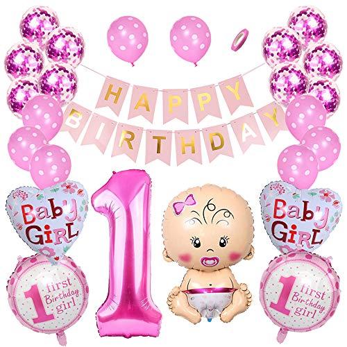 Huture 1 Jahr Kindergeburtstag Dekorationen Rosa Digitaler 1. Ballon Happy Birthday Banner Rosenrot Konfetti Helium Luftballons Set Stern 1. Geburtstag Folie Ballon 1st Party Supplies für Mädchen