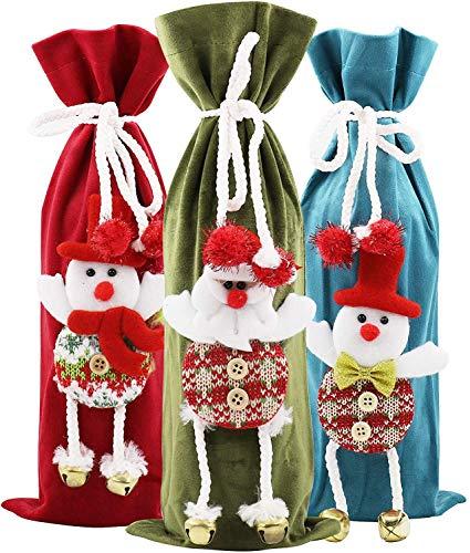 PHYLES Weihnachten Weinflaschen Taschen, 3 Stück Weihnachten Weinflasche Cover für Home Dinner Partys Dekoration Tischdekoration Geschenke