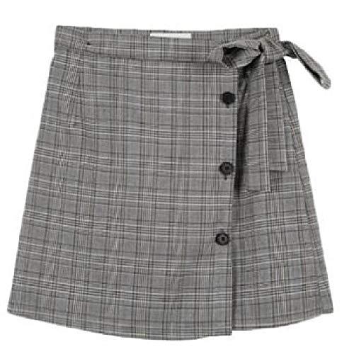 Herfst Winter Rok Vrouwen Engeland Stijl Vintage Plaid Bow Slim Hoge Taille Een Lijn Mini Rok Grijs Khaki saia Feminina