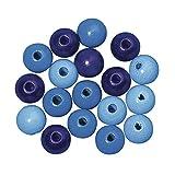 Rayher 1253400 Holz Perlen FSC 100 %, poliert, 12 mm ø, SB-Btl 32 Stück, blau Töne, lutsch- und speichelfest