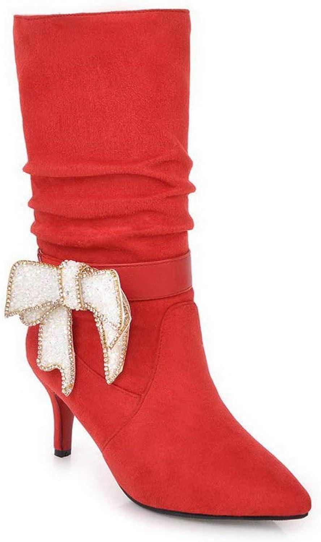 AdeeSu Womens Bows Solid Bucket-Style Urethane Boots SXC03724