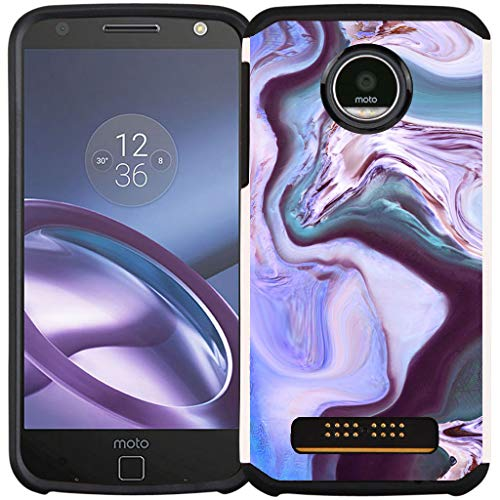 Cass Creations Case for Motorola Moto Z Play Droid (XT1635), Dual Layer Shock Proof Bumper Protective Phone Cover - Purple Marble