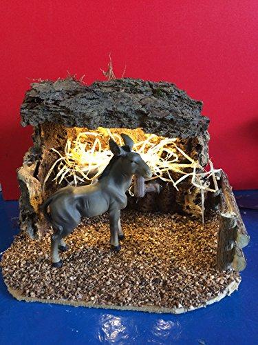 Krippen Landschaft, LED beleuchteter Unterstand für Esel für Figurengröße 9-12 cm. 3,5 V. Krippenzubehör für Weihnachtskrippe oder Passionslandschaft. Jedes Set ein Unikat. Deshalb können Abweichungen vom Bild möglich sein.