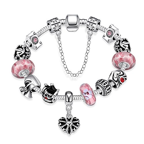 Naivo Designer Inspired Crystal Snake Chain Murano Glass Beads Charm Bracelet, Sweet Bubblegum