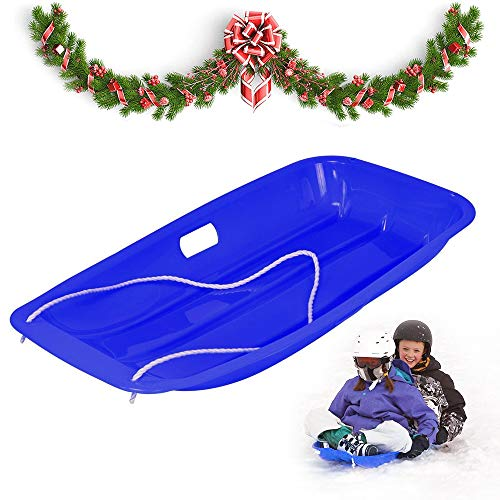 "ANYOYO Kids Outdoor Plastic Sport Toboggan Winter Snow Sled Board w/Pull Rope,Pull Ropes for Outdoor Winter Slider Downhill Snow Board,Baby Pull Sled Sled Slider Snow Screamer, Blue 35"" x 18"" x 5"""