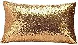 Cosanter Funda de Cojín Cuadrada Funda de Cojín de Lentejuelas Cojin para Sofa Funda de Almohada Brillante (Dorado) 30 * 50cm