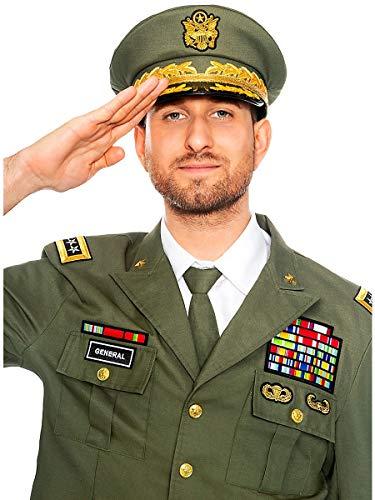 Maskworld Schneidige General-Mütze mit typischem Emblem und Ähren - EIN perfektes Accessoire für Fasching Karneval Mottopartys & Halloween - Verkleidung Uniform - Hut-Größe 60